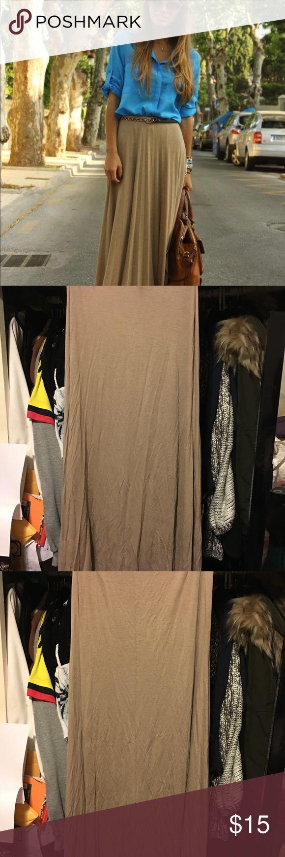 Tan Maxi Skirt Size L Tan Maxi Skirt Size L, perfect for summer & fall! Super cute!! Skirts Maxi