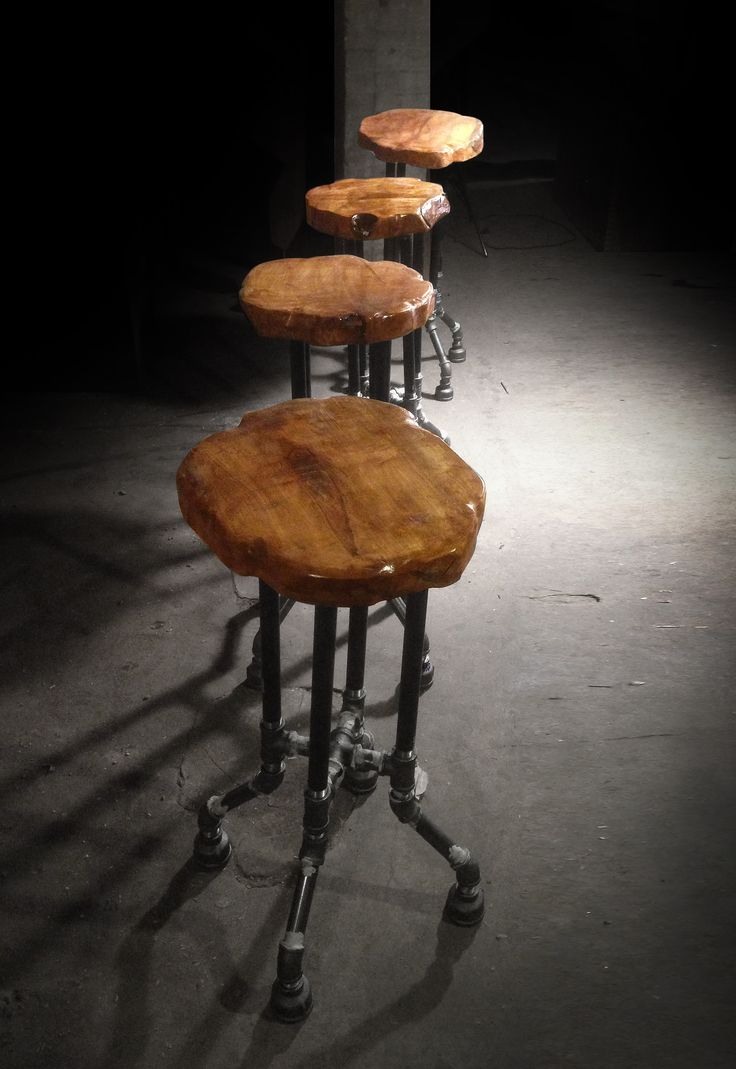 Custom furniture made from reclaimed wood and fallen trees. Live edge. | {Cross Plunge Bar Stool}