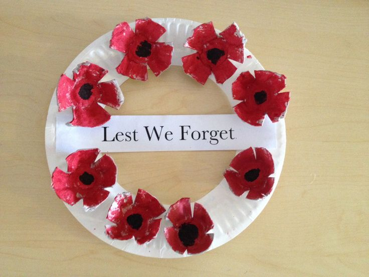 ANZAC day wreath - poppies made from egg cartons and the wreath made for a paper plate. cheap and easy to make and lots of fun for the kids!