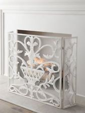 French Country Antique White or Gold Urn Mesh Iron Fireplace Screen,47.75''L.