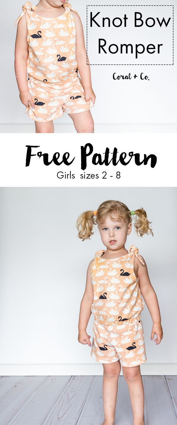 Sewing Knot Bow Romper Free Pattern. Girls sewing pattern sizes 2 - 8 for kids — Coral & Co.Coral & Co.