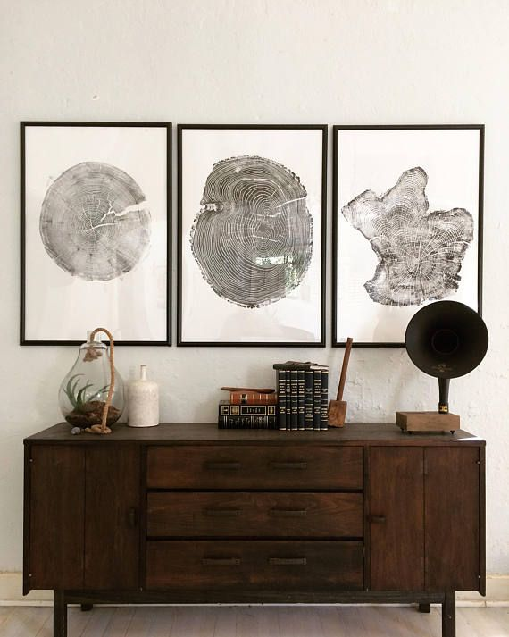 Large Triptych Tree ring prints Large tree print Oversized