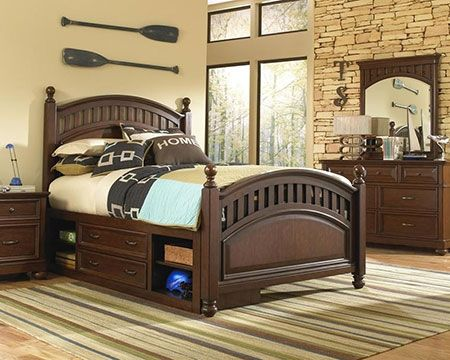 A solid bedroom set for any little one to grow into. #bedroom #darkwood