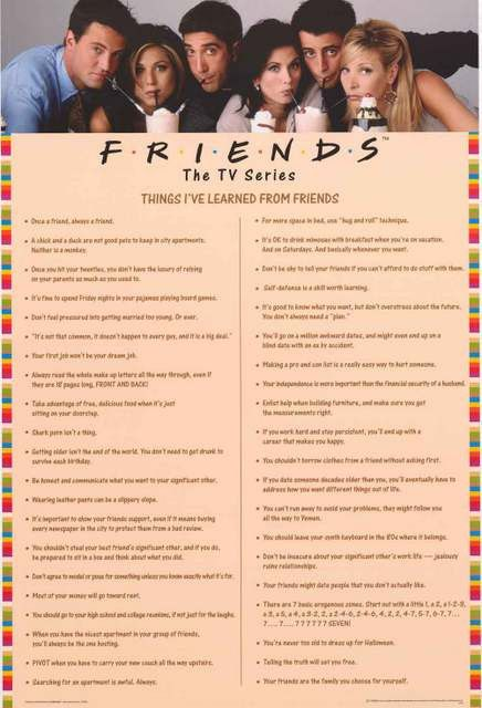 Show everyone the Things You Learned from binge-watching the classic TV show Friends with this great poster of quotes! Fully licensed - 2014. Ships fast. 24x36 inches. Check out the rest of our excell