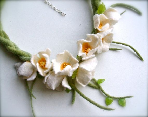 Romantic handmade flowers necklace Blossoms felt by jurooma