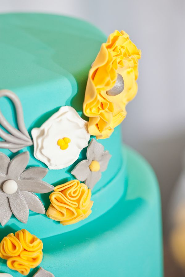 Blue Turquoise Teal Yellow Buttercream Grey Gray Silver