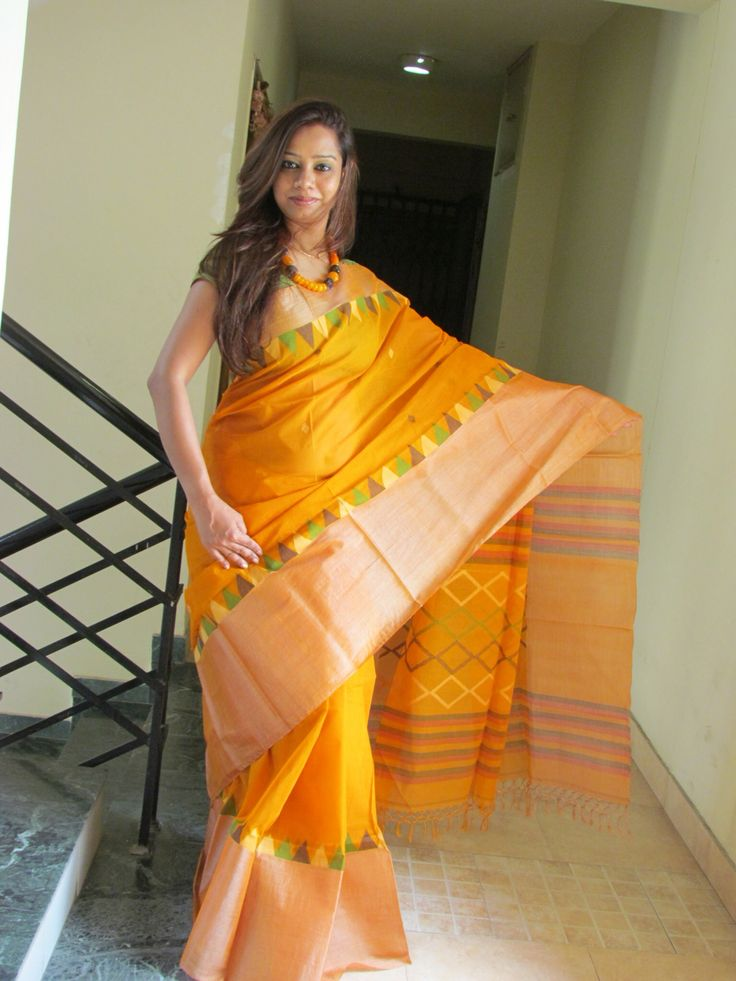 Pure Cotton Handlloom with Tussar Border#Saree