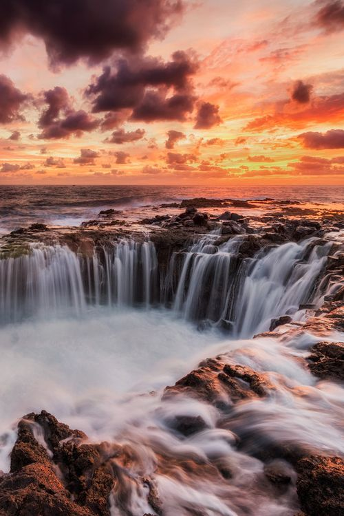 Sunrise in Blowhole, Canary Islands, Spain