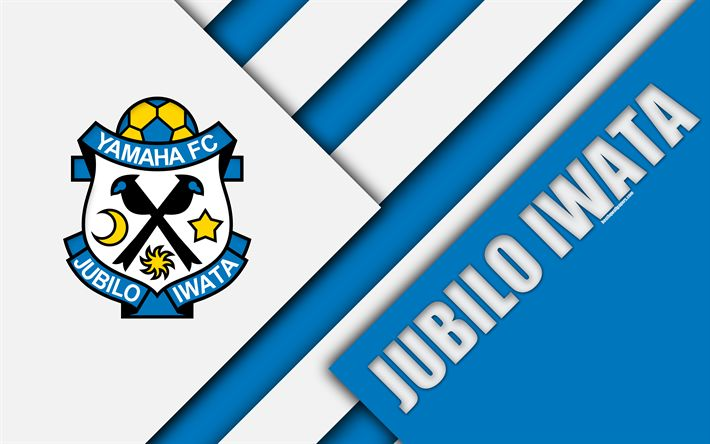 Download wallpapers Jubilo Iwata FC, 4K, blue white abstraction, material design, Japanese football club, logo, Iwata, Shizuoka, Japan, J1 League, Japan Professional Football League, J-League