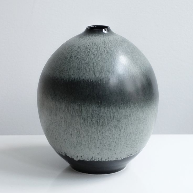 Black And Silver Glazed Vase By Tortus