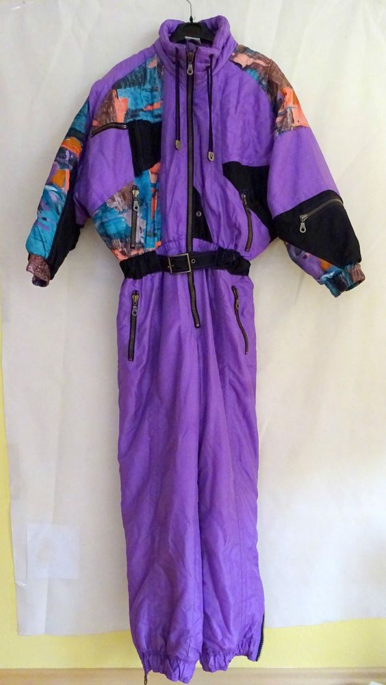 Vintage RODEO Ski Suit Ladies size UK 38 Large Shiny purple multi C&A VGC RARE in Sporting Goods, Skiing & Snowboarding, Clothing, Hats & Gloves | eBay
