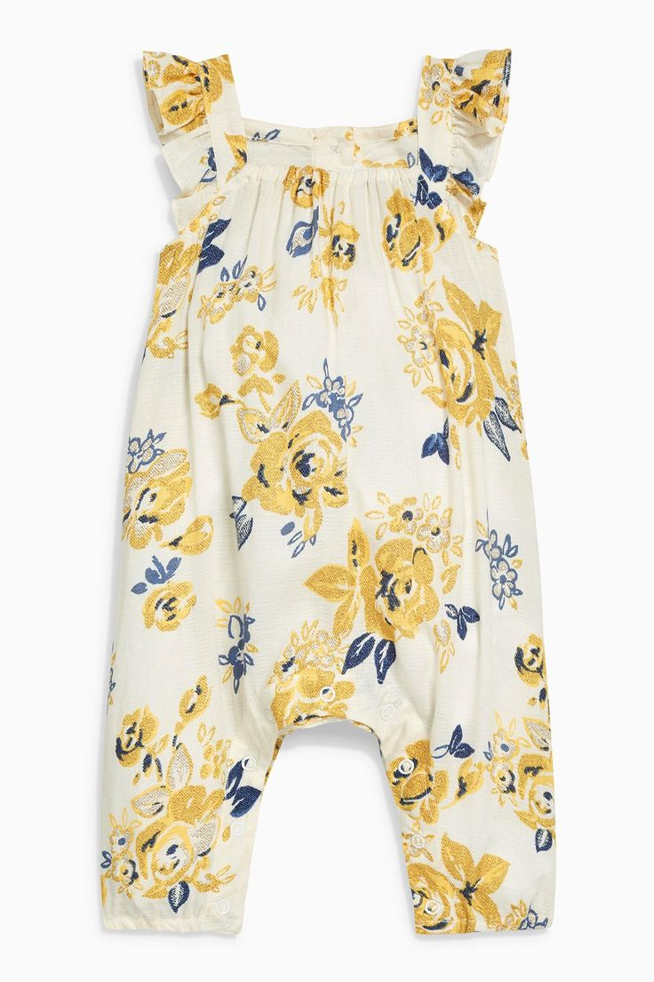 Buy Ochre/Cream Floral Dungarees (0mths-2yrs) online today at Next: United States of America