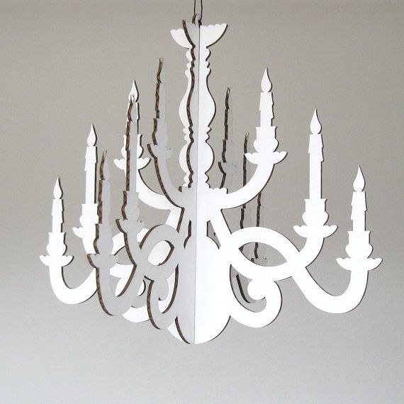 Mini White Traditional Chandelier Cardboard by FabParlor on Etsy, $10.00
