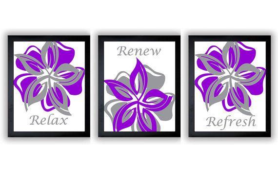 INSTANT DOWNLOAD Purple Grey Gray Relax Renew Refresh Set of 3 Art Printable Flower Print Wall Decor Modern Minimalist Bathroom Bedroom    This is