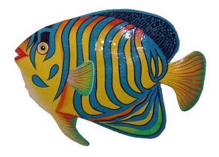 papel+mache+fish+video | pintado a mano de metal de peces tropicales