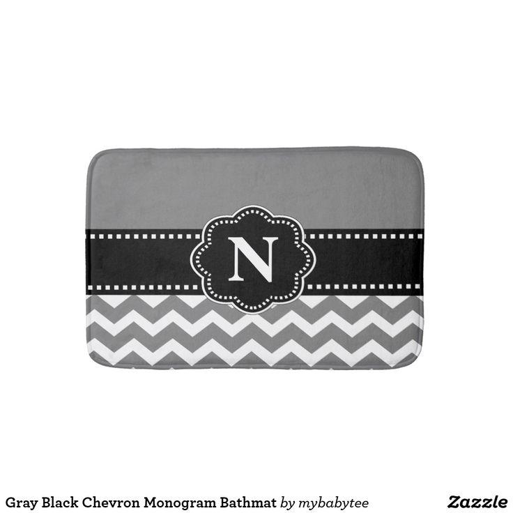 Gray Black Chevron Monogram Bathmat