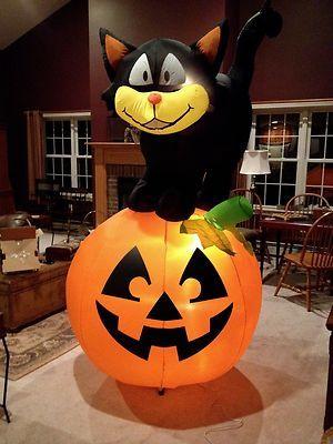 gemmy inflatable 8 feet cat on pumpkin halloween airblown halloween decoration