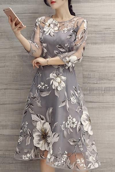 Neue 2019 sommer elegante frauen mesh stickerei dress feminine sieben …   – Products