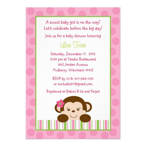 Baby Girl Monkey Baby Shower Invitations
