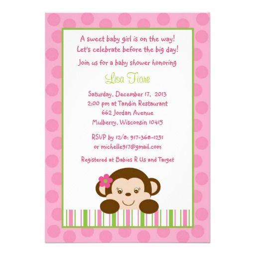 Baby Girl Monkey Baby Shower Invitations