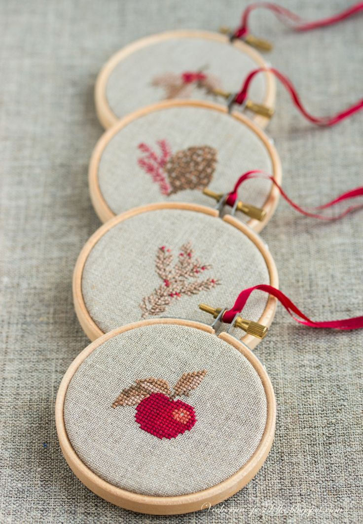 More Christmas ornaments - I made little ornaments like this to teach myself cross stitch a looooong time ago! I had been doing Blackwork for some time; it was easy to pick up. These bring back fond memories. RP