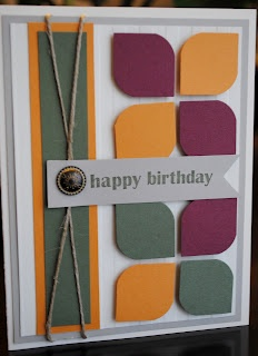 """These are nice colors for a masculine card.  Done with 1"""" square punch and corner rounder"""