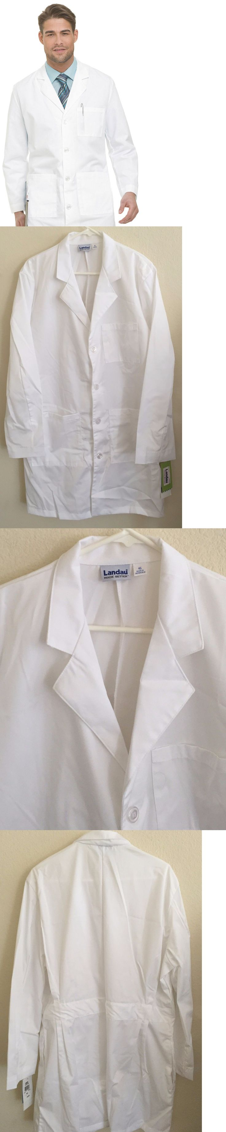 Lab Coats 105417: Landau Men S 4 Button Long Sleeve White Scrub Lab Coat Wwvc Size 46 -> BUY IT NOW ONLY: $30 on eBay!