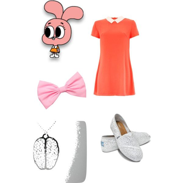 The Amazing World of Gumball- Anais Watterson by cartoonfashionwithpassion on Polyvore featuring TOMS and Cotton Candy