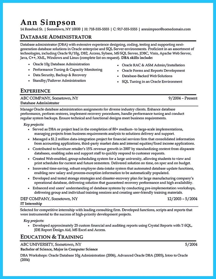 cool High Impact Database Administrator Resume to Get Noticed Easily,