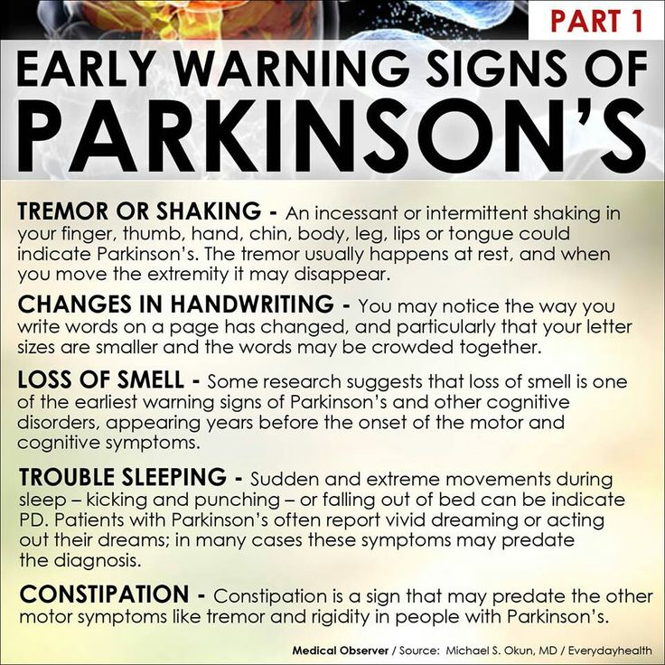 the early signs and symptoms of parkinsons disease The early warning signs of parkinson's are more specific than that, says amit sachdev, md, an assistant professor and director of neuromuscular medicine at michigan state university here are some key symptoms to look out for.