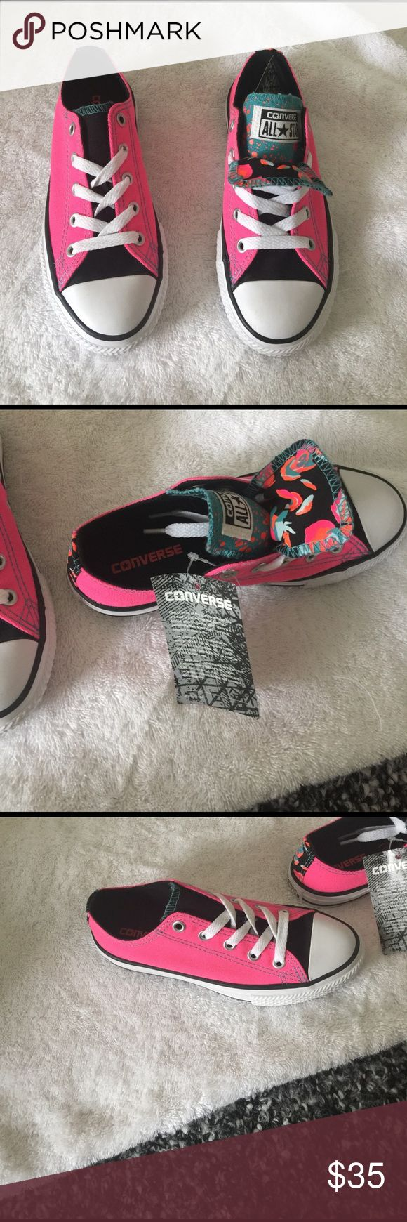 Converse kids shoes NWT Double tongue shoe, mostly pink and black. Comes with box. Converse Shoes Sneakers