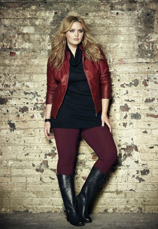 Red Leather Jacket | Cute Fall Fashion Looks for Extended Sizes, check it out at http://youresopretty.com/plus-size-fashion