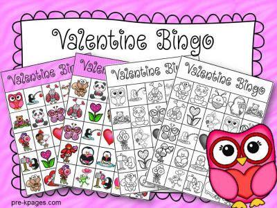 printable valentine bingo game for preschool - Valentine Bingo Cards