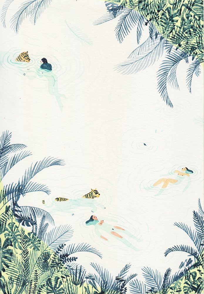 [ river / lake / spring ] paintings from the group show Just Swim ! by Monica Tramos