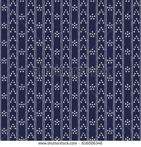 Abstract seamless background in dark blue and white. Seamless Tribal pattern. Fabric, textile, print. Simple folk uneven motif with strips. Polkadot, polka dot pattern.Russia ethnic vector background.
