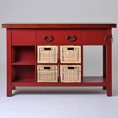 Lunenburg Kitchen Island   Description Featuring 4 woven baskets, double-access drawer, two-tier shelf and towel ring.  was $999.99 now $499.99  SKU 116238 Two-tone Brick Red and Brown  22 inches wide x 55 inches long x 36 inches high   was $999.99 now $499.99  SKU 116239 Two-tone Black and Orange  22 inches wide x 55 inches long x 36 inches high