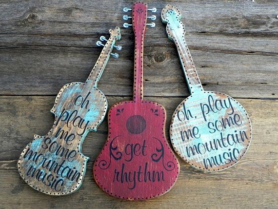 Banjo Sign and Wall Decor Country Western Home by CrowBarDsigns