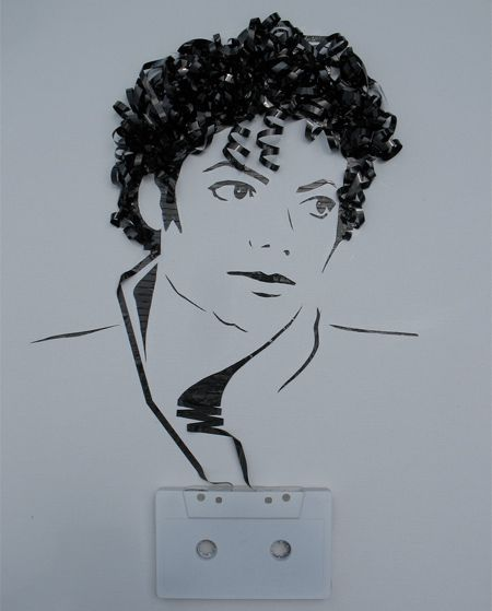 MJ portrait made out of recycled cassette tapes.