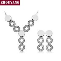ZHOUYANG ZYS114 Три Кристалл Круглый Platinum Покрытием Ювелирные Изделия Серьги Ожерелья Rhinestone Сделано с Австрийскими Кристаллами