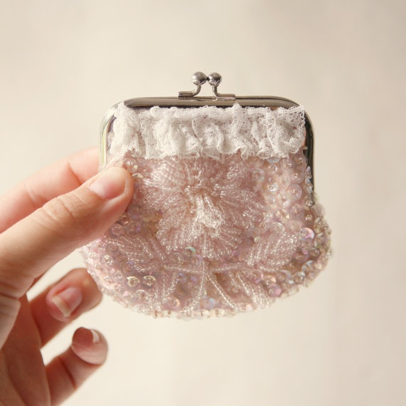 vintage pink beaded purse by whichgoose on Etsy, $18.00