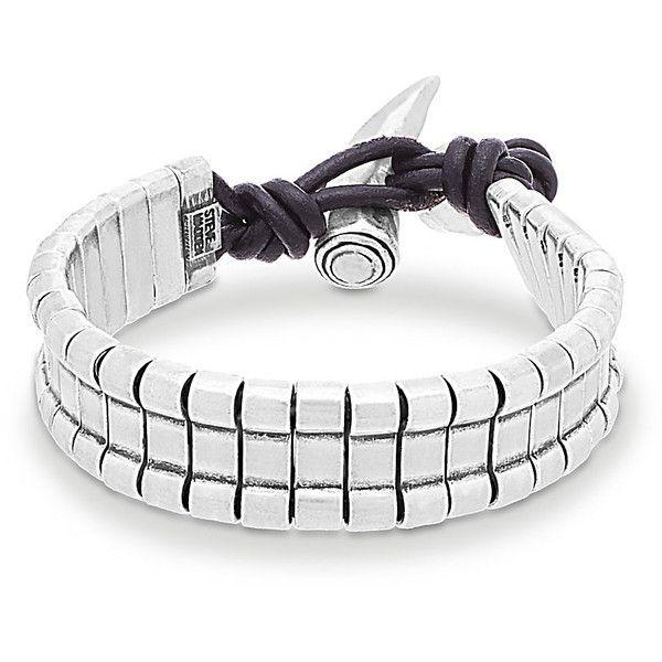Steve Madden SMBS75457 ($40) ❤ liked on Polyvore featuring men's fashion, men's jewelry, men's bracelets, steel, mens bracelets, mens leather braided bracelets and mens bead bracelets