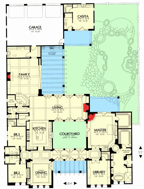 House Plans With Casita Courtyard House Plans House Plans Tuscan House