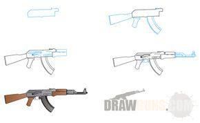 How To Draw AK-47 Machinegun | Edrk12 | Free Coloring Pages