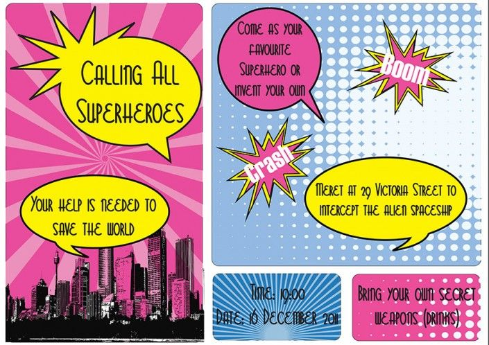 Super hero party invitation design by Very Cherry Design Studio