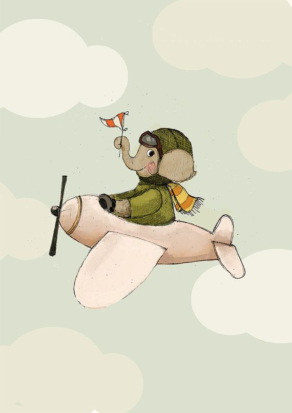 Elephant flying Boy Art Holli Nursery Wall Art by holli