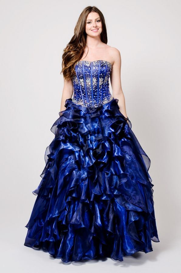 # Jeweled Corset Ruffled Gown Vestido de 15 Beaded Corset Style Royal Blue Quinceanera Dress