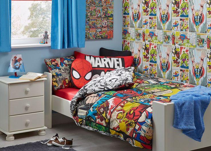 Обои в детскую комнату мальчика: рекомендации по выбору и 70+ ярких идей для вашего ребенка http://happymodern.ru/oboi-v-detskuyu-komnatu-dlya-malchikov-foto/ Фотообои с комиксами о супергероях в сочетании с однотонными светло-синими обоями – настенное оформление детской комнаты для мальчика Смотри больше http://happymodern.ru/oboi-v-detskuyu-komnatu-dlya-malchikov-foto/