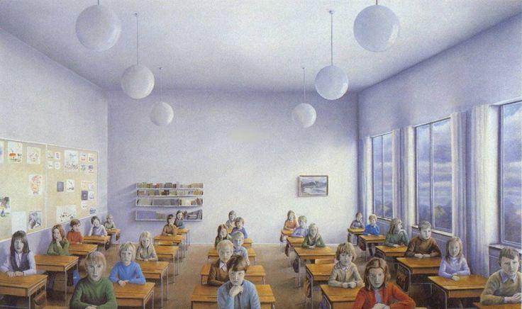 ESCUELA/COLEGIO - SÍMBOLO DE APRENDIZAJE Y OPRESIÓN Pocos eventos de la experiencia humana invitan a tal magnitud de caos de sentimientos, memorias, bendiciones y maldiciones como la escuela, ya que una buena parte de nuestra identidad está ligada a ella. La escuela evoca preciadas oportunidades de aprendizaje, equivalentes a libertad, clase y potencial creativo (+ info click en VISITAR). Imagen: Óleo de Peter Tillberg, 1972, Suecia - ¿Querrías ser provechoso querido?