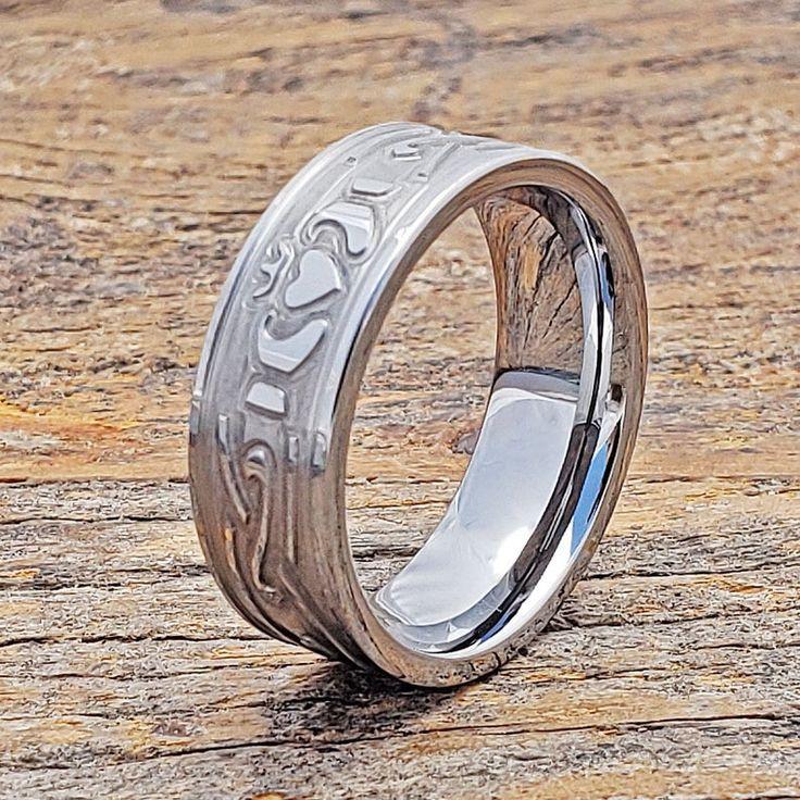 Claddagh ring tungsten ring tungsten wedding mens wedding