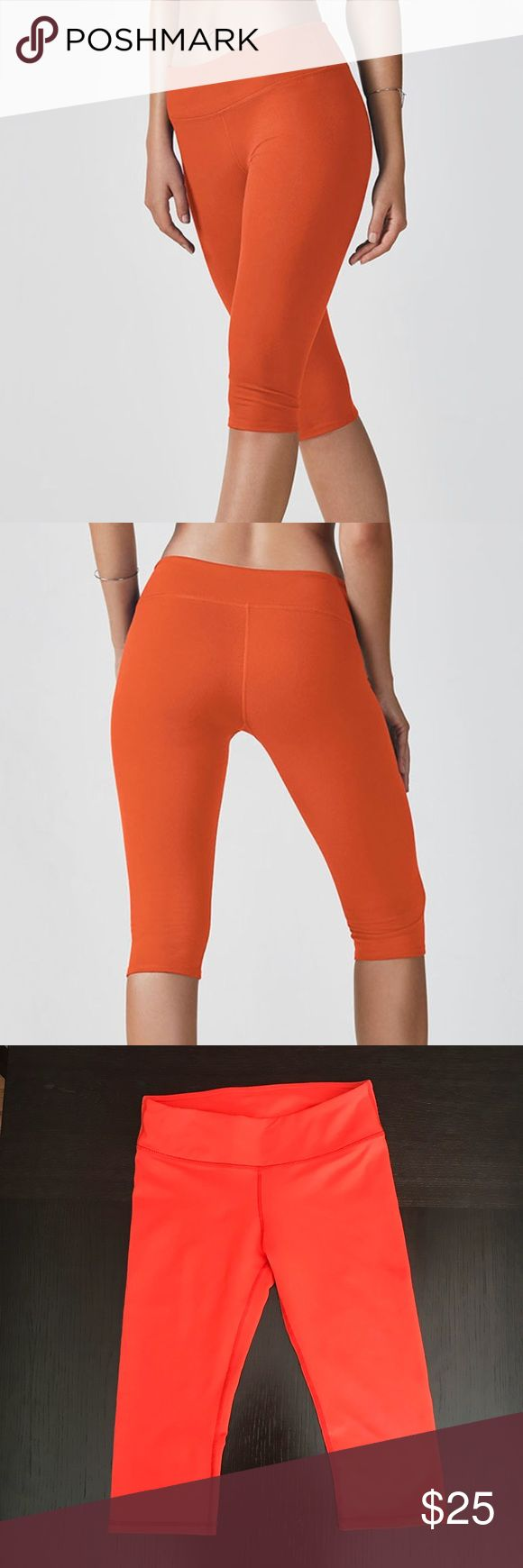 Fabletics Orange Leggings, XS/4 Fabletics Salar Crop. Color: Poppy. Size: XS. Below-the-knee, all-way stretch bottoms. Perfect for high-impact activities like cardio, bootcamp and HIIT. Worn several times, great condition! Beautiful bright color. Bundle and save :) Fabletics Pants Leggings